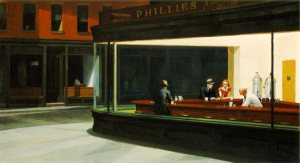 Nighthawks by Edward Hopper view into night time diner for Nighthawks post by Malin James
