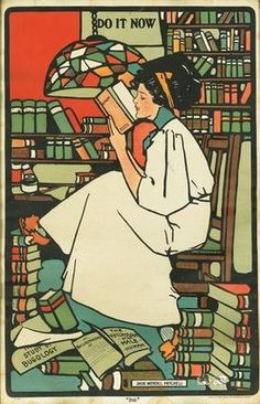 Woman in a library art nouveau for On Confronting Literature by Malin James